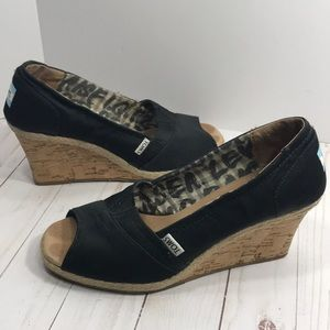 Toms satin and cork wedge peep toe shoes